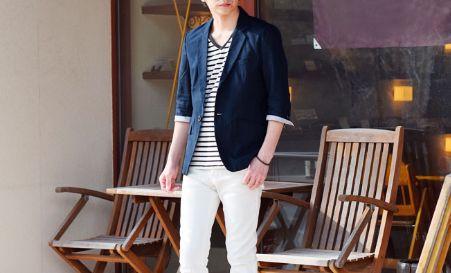 夏の街コン用の服装【30代男性の爽やかさアップコーデ】<七分袖ジャケット>