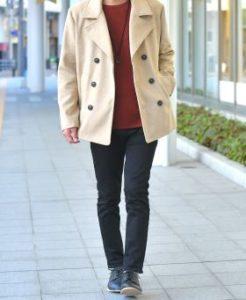 12月の街コン用Pコートメンズファッション