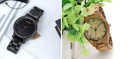 街コンに木製腕時計