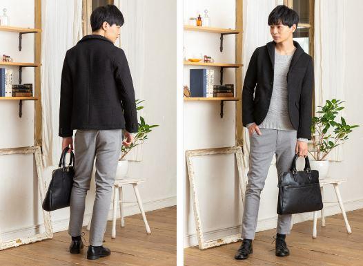 黒ジャケットとグレーの服で2月の街コン用の男の服装