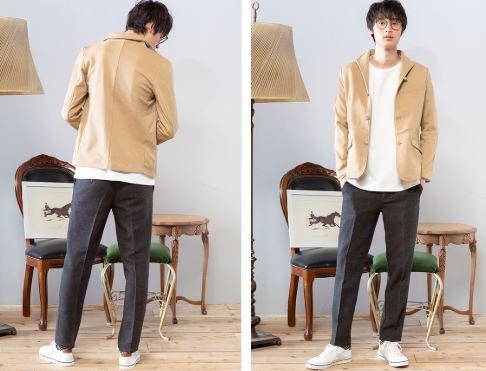 街コン用の男の服装にベージュ色ジャケット