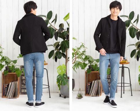 街コン用の男の服装に黒ジャケット2色コーデ